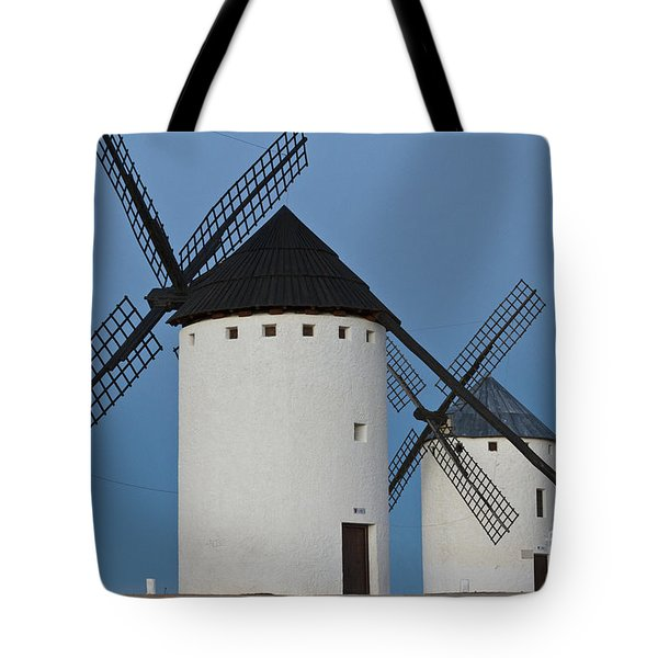 Tote Bag featuring the photograph White Windmills by Heiko Koehrer-Wagner