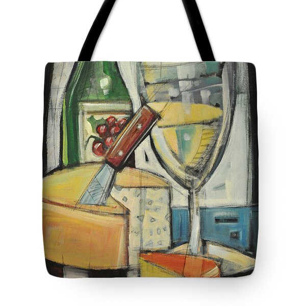 White Wine And Cheese Tote Bag by Tim Nyberg
