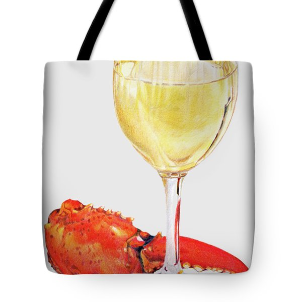 White Wine And Lobster Claw Tote Bag