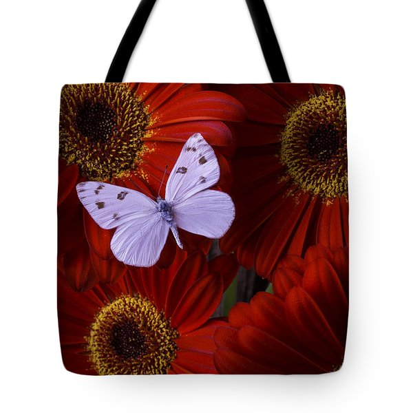 White Wings On Red Daisy Tote Bag