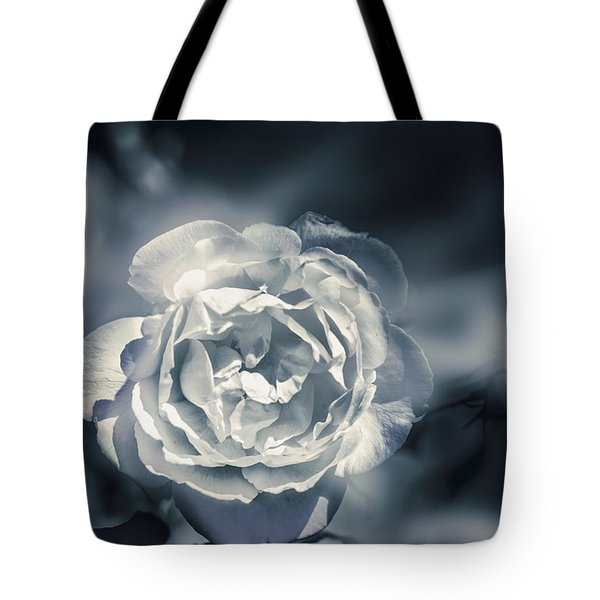 White Winter Rose Wilting In A Blue Gloomy Field Tote Bag