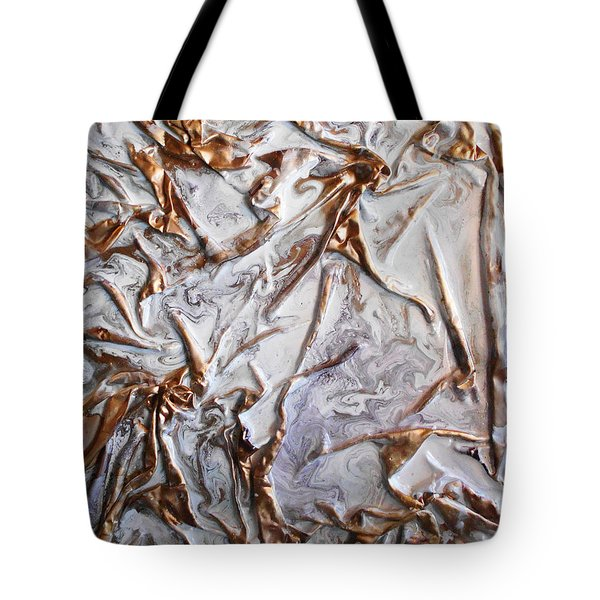 Tote Bag featuring the mixed media White With Gold Birds by Angela Stout