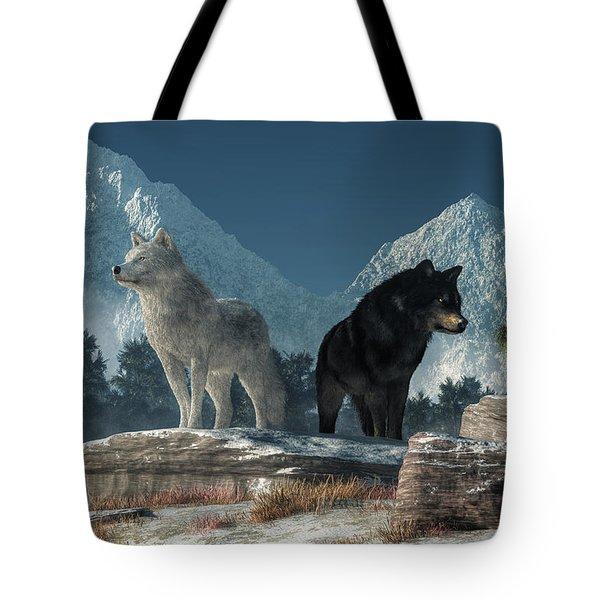 Tote Bag featuring the digital art White Wolf, Black Wolf by Daniel Eskridge