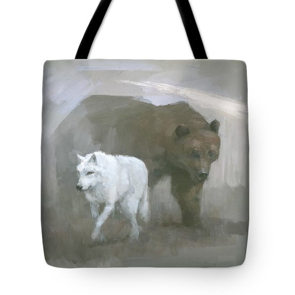 Tote Bag featuring the painting White Wolf, Brown Bear by Steve Mitchell