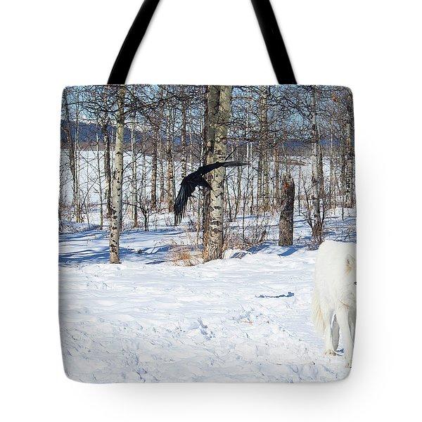 White Wolfdog Tote Bag