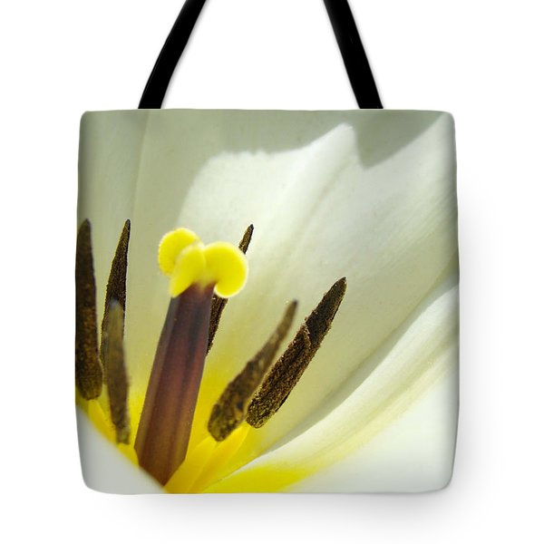 White Yellow Tulip Flower Fine Art Prints Tote Bag by Baslee Troutman