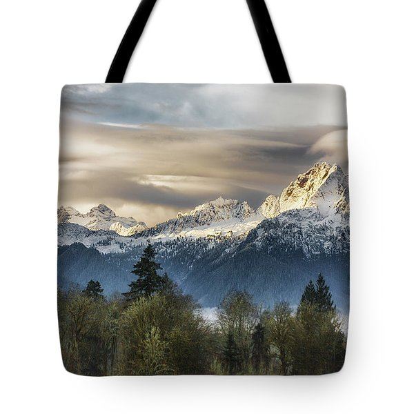 Whitehorse Sunrise, Flowing Clouds Tote Bag