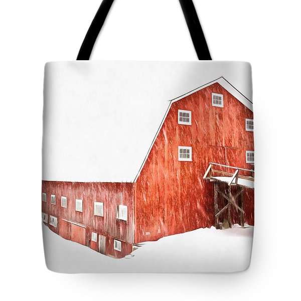 Tote Bag featuring the painting Whiteout On The Farm Blizzard Stella by Edward Fielding