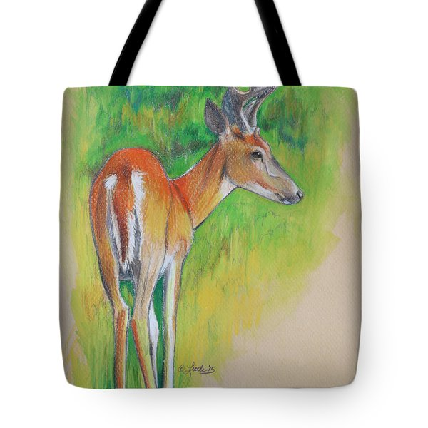 Whitetail Buck Mixed Media Tote Bag