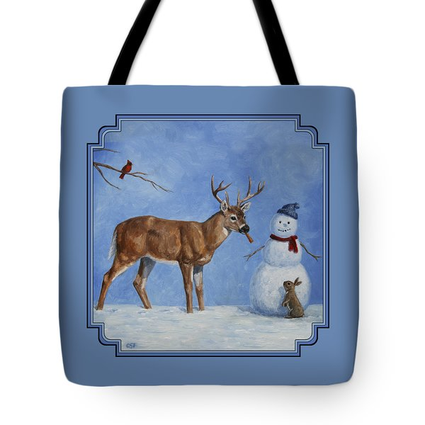 Whitetail Deer And Snowman - Whose Carrot? Tote Bag by Crista Forest