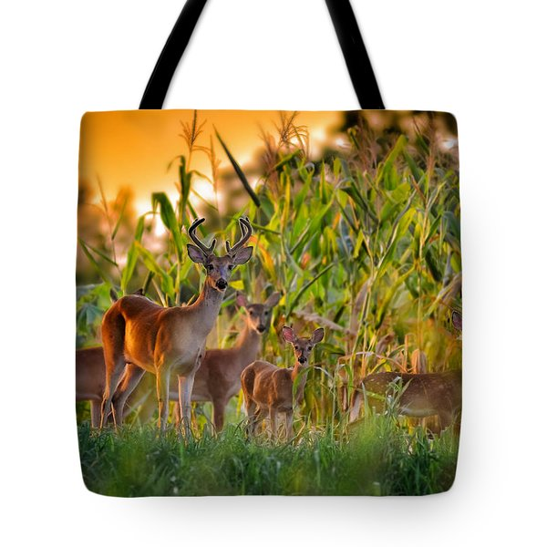 Whitetail Family Tote Bag