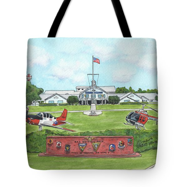 Tote Bag featuring the painting Whiting Field Welcome Sign by Betsy Hackett