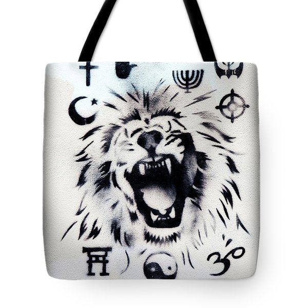 Tote Bag featuring the photograph Who Do You Believe by Art Block Collections