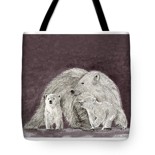 Tote Bag featuring the painting Polar Bear Family by Jack Pumphrey