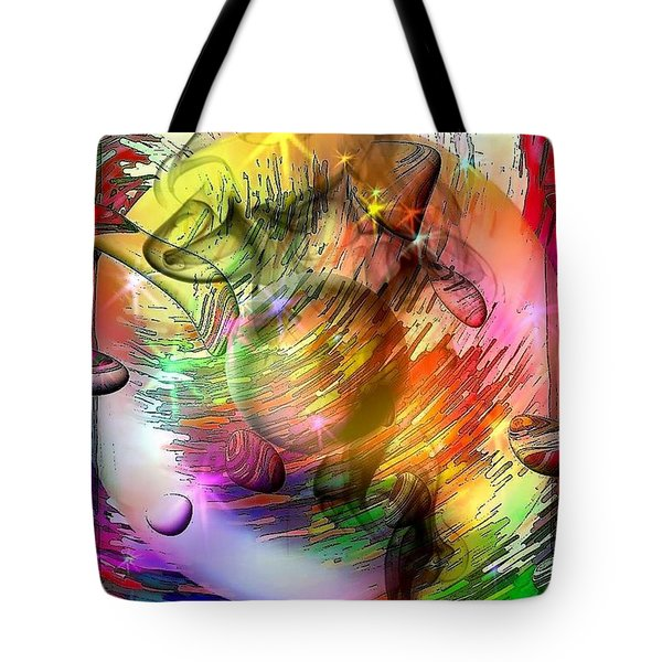 Tote Bag featuring the digital art who is already looking into the future by Nicobielow by Nico Bielow