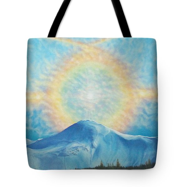 Tote Bag featuring the painting Who Makes The Clouds His Chariot Fire Rainbow Over Alberta Peak by Anastasia Savage Ealy