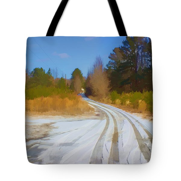 Snow Covered Lane Tote Bag