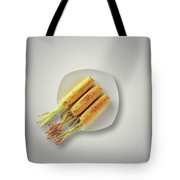 Whole Grilled Corn On A Plate Tote Bag