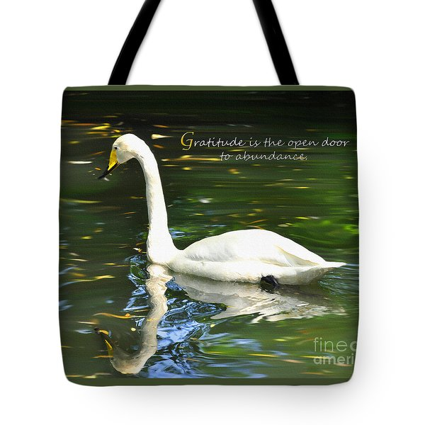 Whooper Swan Gratitude Tote Bag by Diane E Berry