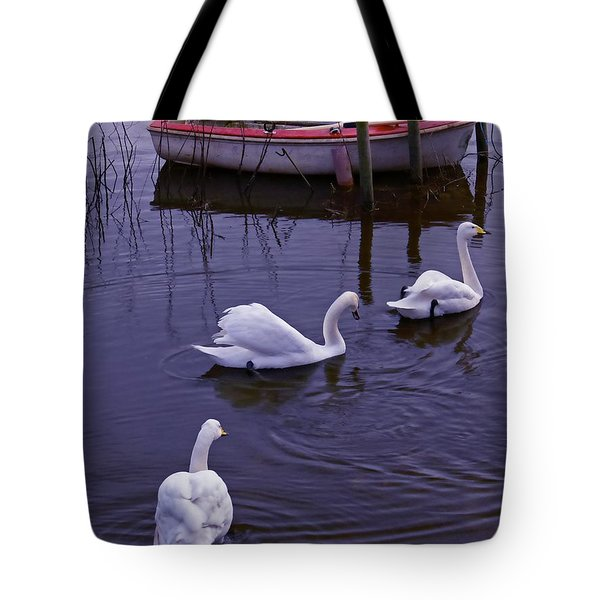 Whooper Swans On River Tote Bag