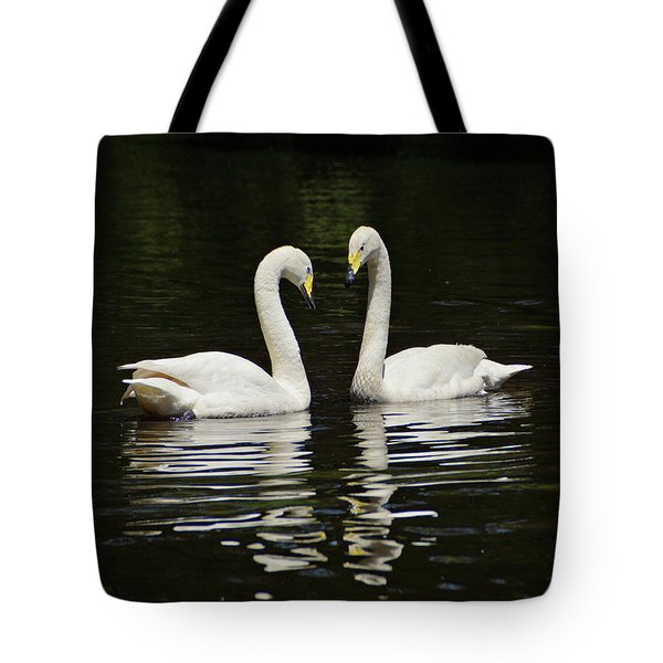 Tote Bag featuring the photograph Whooper Swans by Sandy Keeton
