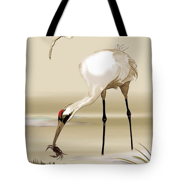 Tote Bag featuring the painting Whooping Crane by Anne Beverley-Stamps