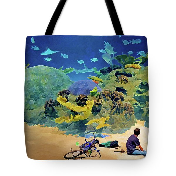 Tote Bag featuring the mixed media Who's Fishing? by Lynda Lehmann