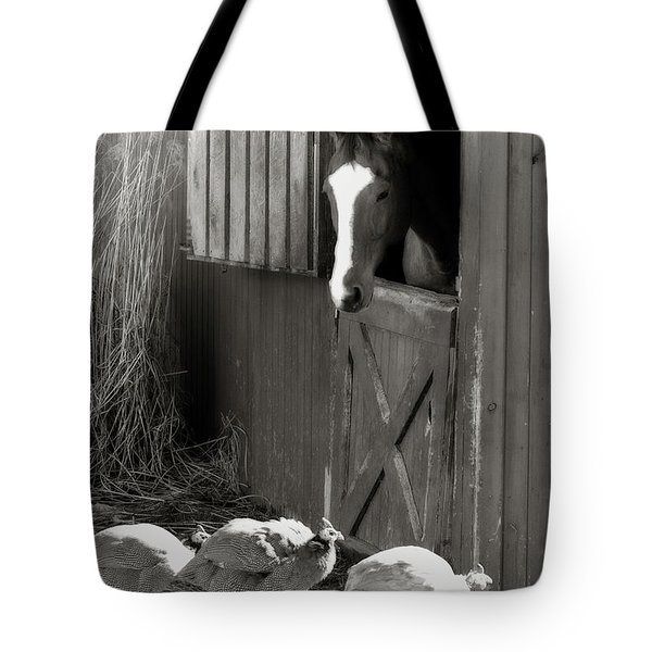 Tote Bag featuring the photograph Why Did The Guinea Hen Cross The Road - Sepia by Angela Rath