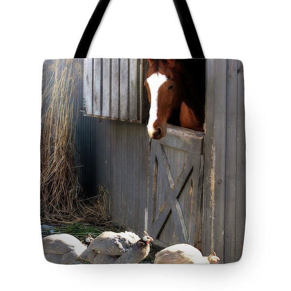 Tote Bag featuring the photograph Why Did The Guinea Hen Cross The Road by Angela Rath