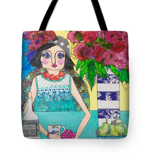 Tote Bag featuring the mixed media Why Limit Happy To A Hour by Rosemary Aubut