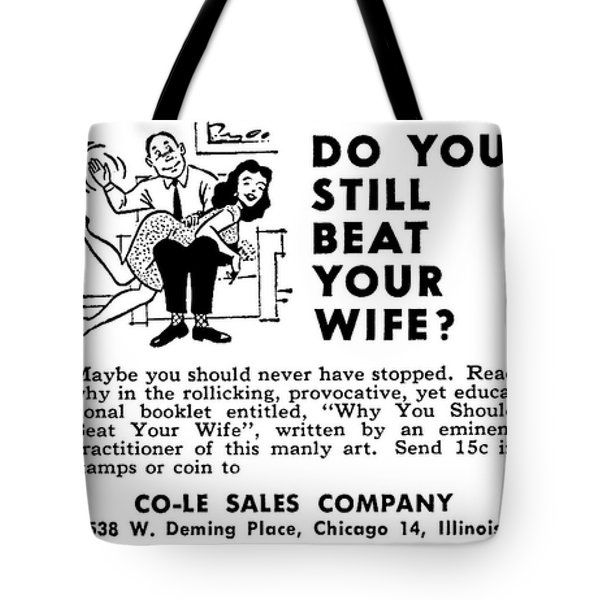 Tote Bag featuring the digital art Why You Should Beat Your Wife by Reinvintaged