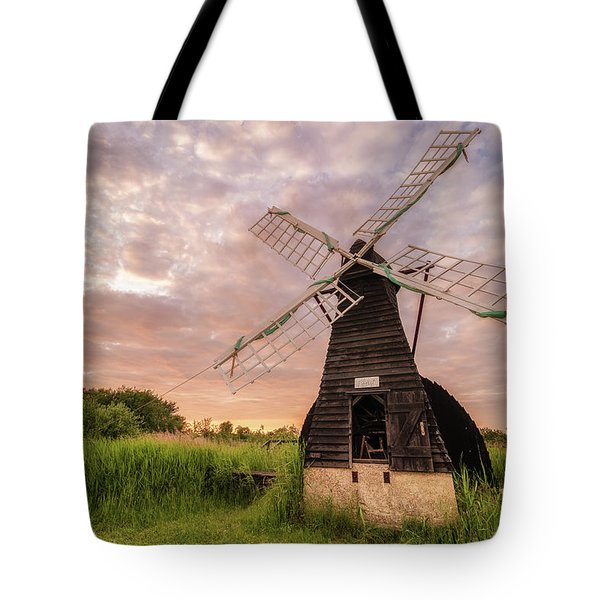 Wicken Wind-pump At Sunset II Tote Bag