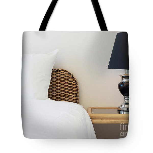 Tote Bag featuring the photograph Wicker Rattan Bed by Atiketta Sangasaeng