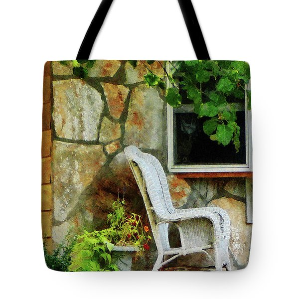 Wicker Rocking Chair On Porch Tote Bag by Susan Savad