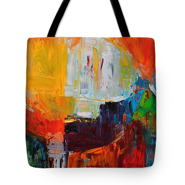 Wide Abstract F Tote Bag by Becky Kim
