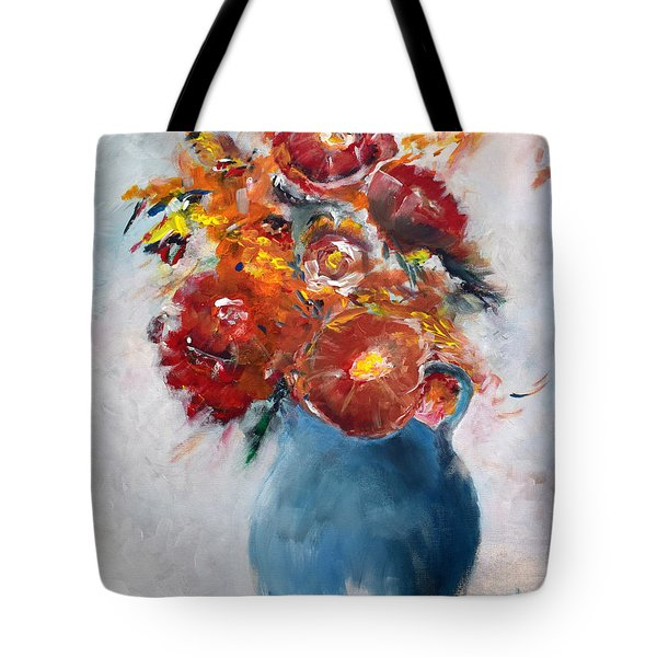 Wide-eyed Flowers In A Blue Pot Tote Bag