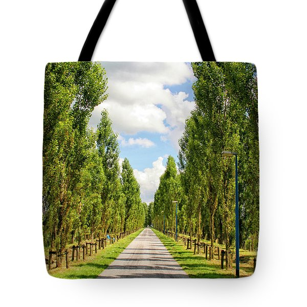 Wide Road With Trees Tote Bag by Patricia Hofmeester