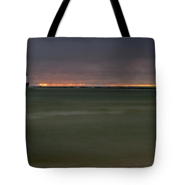 Tote Bag featuring the photograph Wide View Of Lighthouse And Sunset by Lester Plank