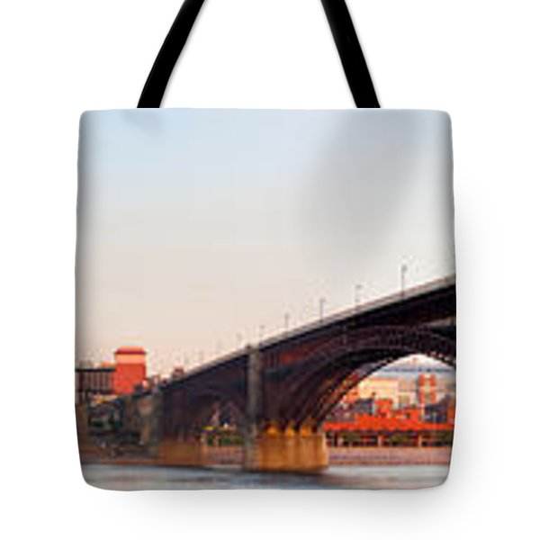 Wide View Of St Louis And Eads Bridge Tote Bag