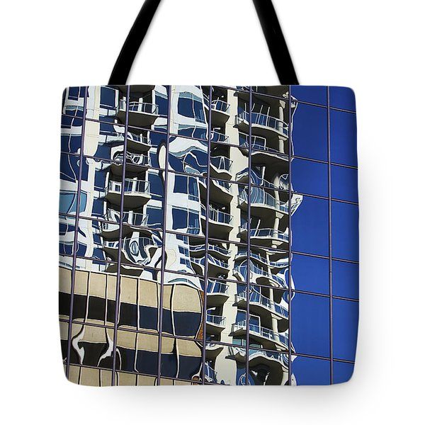 Tote Bag featuring the photograph Wiggly Balconies by Phyllis Denton