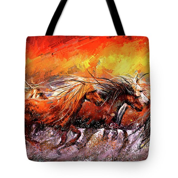 Wild And Free - Horses Running In The Wild Art Tote Bag