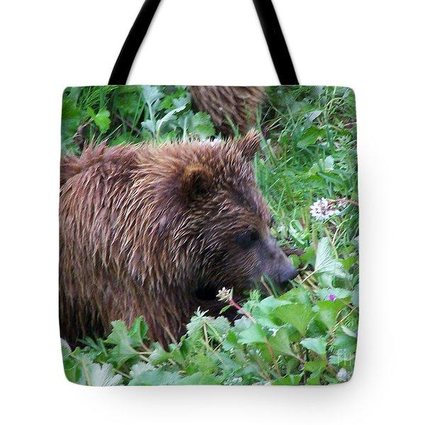 Wild Bear Eating Berries  Tote Bag by Kathy  White