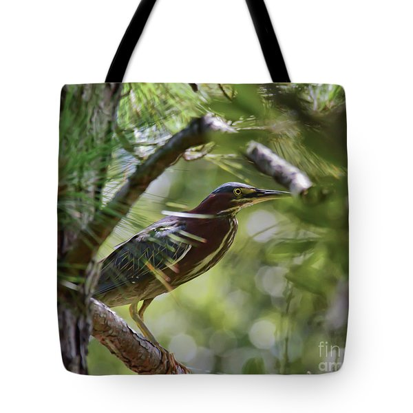 Tote Bag featuring the photograph Wild Birds - Green Heron Tries To Hide by Kerri Farley