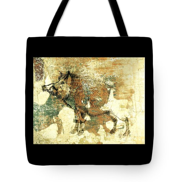 Tote Bag featuring the drawing Wild Boar Cave Painting 1 by Larry Campbell
