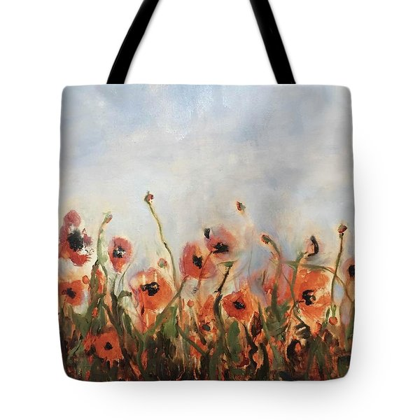 Wild Corn Poppies Underpainting Tote Bag