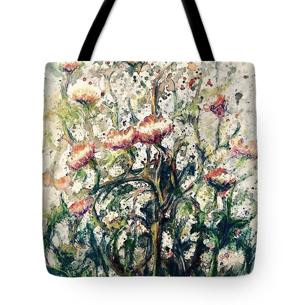 Tote Bag featuring the painting Wild Flowers # 2 by Laila Awad Jamaleldin