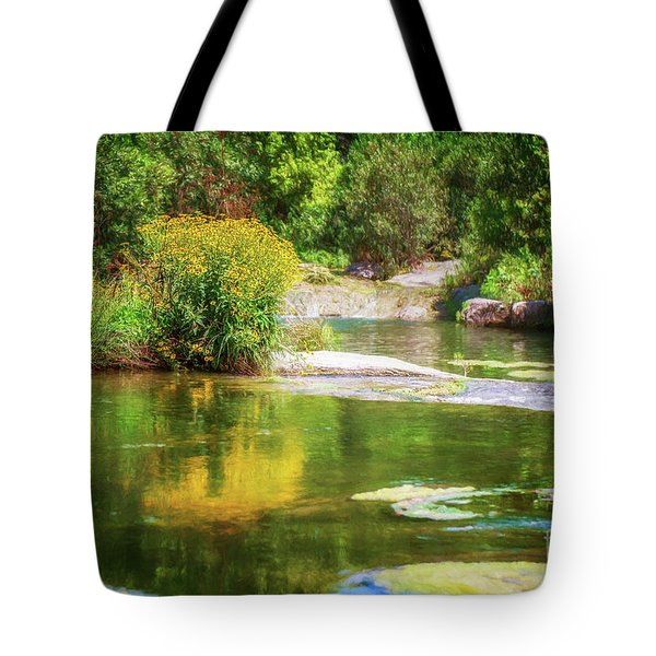Wild Flowers On Blue River Tote Bag