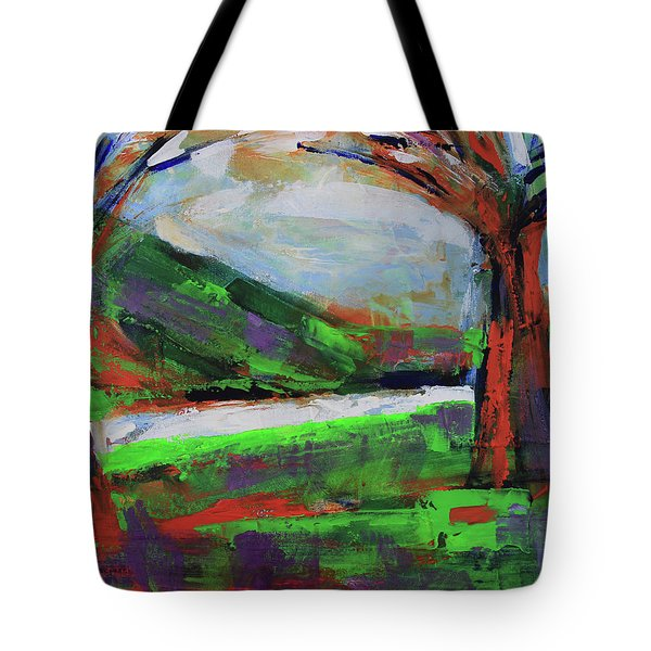 Tote Bag featuring the painting Wild Flowers On The River Banks by Walter Fahmy