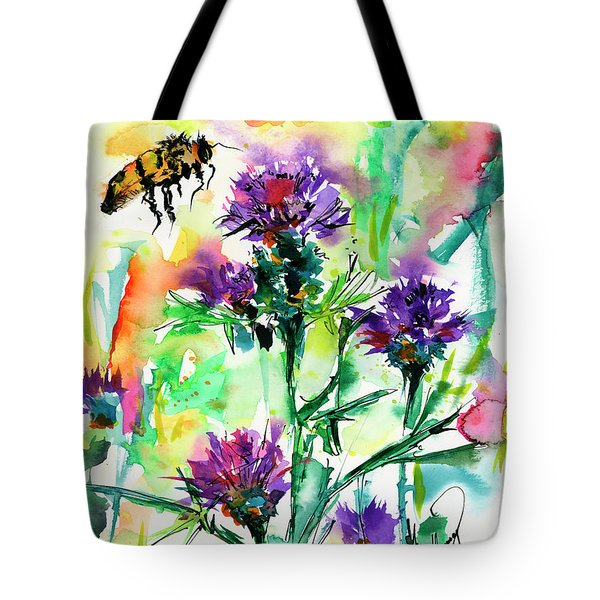 Wild Flowers Thistles And Bees Tote Bag