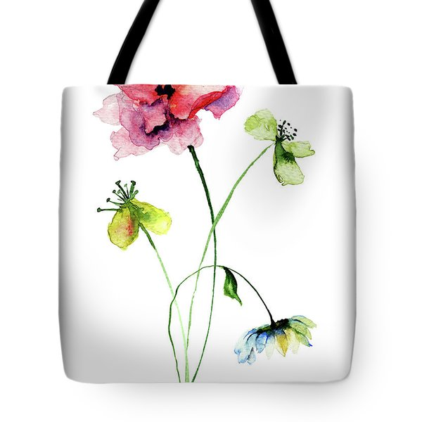 Wild Flowers Watercolor Illustration Tote Bag